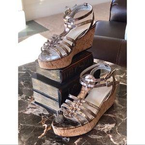 Leather silver metallic cork wedge sandals!